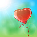 Balloon in the form of heart red illustration Stock Image