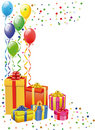 Balloon and Gift Boxes Royalty Free Stock Photography