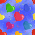 Balloon Hearts Low Poly Pattern