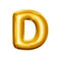 Balloon letter D 3D golden foil realistic alphabet