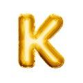 Balloon letter K 3D golden foil realistic alphabet