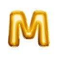 Balloon letter M 3D golden foil realistic alphabet