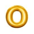 Balloon letter O 3D golden foil realistic alphabet