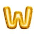 Balloon letter W 3D golden foil realistic alphabet