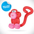 Balloon monkey illustration vector glossy Stock Photography