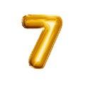 Balloon number 7 Seven 3D golden foil realistic alphabet