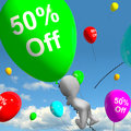 Balloon with off showing discount of fifty percent shows Royalty Free Stock Image