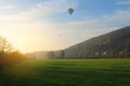 Balloon over field Royalty Free Stock Photo