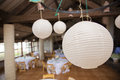Balloon paper lamps round lantern ball in the restaurant Stock Photos