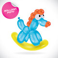 Balloon pony illustration vector glossy Royalty Free Stock Image