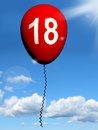 Balloon represents eighteenth happy birthday representing celebration Stock Photo