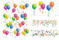 Balloon, ribbon and colorful confetti Stock Photos