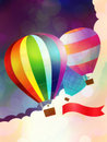 Balloon with ribbon illustration of hot air red on sky background Stock Photo