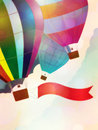 Balloon with ribbon illustration of hot air red on sky background Royalty Free Stock Photos