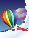 Balloon with ribbon illustration of hot air red on sky background Royalty Free Stock Photography