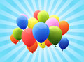Balloon s with sunburst background colorful Royalty Free Stock Images