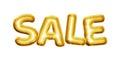 Balloon Sale text letters 3D golden foil realistic