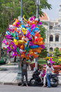 Balloon salesman on the center of saigon vietnam he usually sales balloon on weekend holiday and lunar new year ho chi minh city Royalty Free Stock Photo