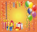 Balloon  with Streamers and Gift Boxes Royalty Free Stock Images