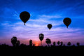 Balloon on twilight time with beauty landscape Stock Images
