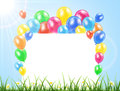 Balloons and banner on a grass flying colored nature background with card illustration Stock Photography