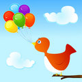 Balloons and bird Royalty Free Stock Images