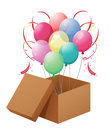 Balloons in the box illustration of on a white background Stock Image