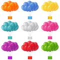 Balloons bunches with letters set of colorful flying mail envelopes eps contains transparencies Royalty Free Stock Images