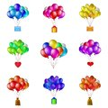 Balloons bunches set of colorful flying with various objects holiday mail gift box valentine heart bag of money Royalty Free Stock Image