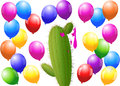 Balloons cactus menacing surrounded by one is bursted isolated vector illustration on white background Stock Image