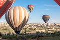 Balloons in cappadocia colorful floating turkey the middle of the exotic geological formations Stock Photo