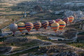 Balloons in cappadocia a line of beings inflated turkey the middle of the exotic geological formations Royalty Free Stock Photography