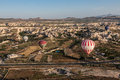 Balloons in cappadocia three floating turkey the middle of the exotic geological formations Royalty Free Stock Images