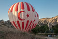Balloons in cappadocia two balloon beings inflated turkey the middle of the exotic geological formations Royalty Free Stock Photos