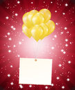 Balloons and a card on red background Stock Photos