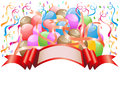 Balloons with celebration banner Royalty Free Stock Photo