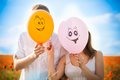 Balloons, close face, smile Royalty Free Stock Photo