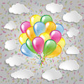 Balloons with clouds and colorful confetti a grey