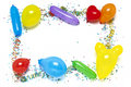 Balloons and confetti border Stock Image