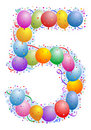 Balloons and confetti Number 5 Royalty Free Stock Images