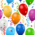 Balloons and confetti seamless pattern a with colorful party streamers on white background eps file available Stock Photo