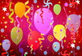 Balloons, confetti and stars Royalty Free Stock Photo