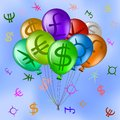 Balloons with currency signs in sky Royalty Free Stock Photos