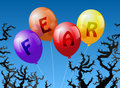 Balloons fear four which are labeled with the word are threatened by thorns Stock Photos