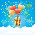 Balloons, firework and gift box. Royalty Free Stock Photo