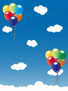 Balloons floating in blue sky Stock Image