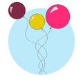 Balloons flying colorful abstract on the blue background Stock Photos