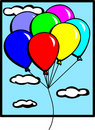 Balloons flying in the sky vector illustration Stock Photo