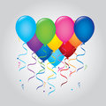 Balloons and garlands over gray background vector illustration Stock Photo