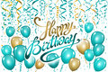 Balloons happy birthday on black. Gold blue balloon sparkles holiday background. Happiness Birth day to you logo, card, banner, we